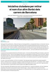 Iniciativa ciutadana per retirar el nom d'un altre Borbó dels carrers de Barcelona