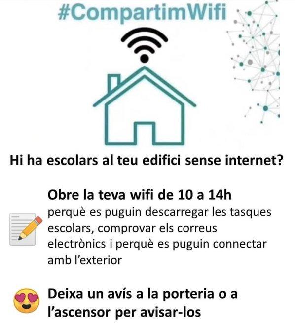Compartim Wifi, una iniciativa per no deixar  escolars sense internet